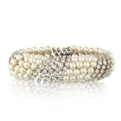 David Webb White Pearl Diamond Bracelet - 1675034
