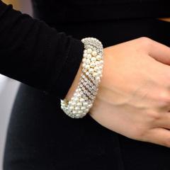 David Webb White Pearl Diamond Bracelet - 1675036