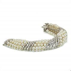 David Webb White Pearl Diamond Bracelet - 1675037