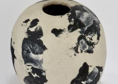 David Whitehead David Whitehead Ceramic Artist White and Black Wood Fired Ceramic Vase La Borne - 1064065