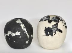 David Whitehead David Whitehead Ceramic Artist White and Black Wood Fired Ceramic Vase La Borne - 1064066