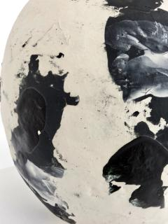 David Whitehead David Whitehead Ceramic Artist White and Black Wood Fired Ceramic Vase La Borne - 1064069