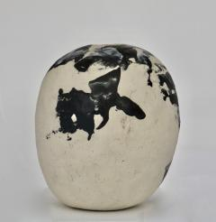 David Whitehead David Whitehead Ceramic Artist White and Black Wood Fired Ceramic Vase La Borne - 1064073