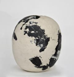 David Whitehead David Whitehead Ceramic Artist White and Black Wood Fired Ceramic Vase La Borne - 1064074
