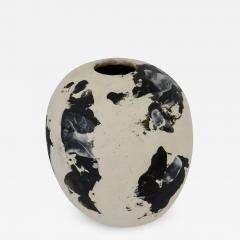David Whitehead David Whitehead Ceramic Artist White and Black Wood Fired Ceramic Vase La Borne - 1065897