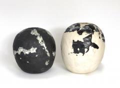 David Whitehead David Whitehead Ceramic Artist White and Black Wood Fired Ceramic Vase La Borne - 1064079