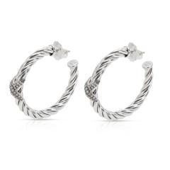 David Yurman Cable Diamond X Hoop Earrings in Sterling Silver 0 33 CTW  - 1364489