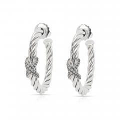 David Yurman Cable Diamond X Hoop Earrings in Sterling Silver 0 33 CTW  - 1365746