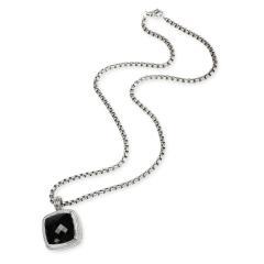 David Yurman David Yurman Albion Black Onyx Diamond Necklace in Sterling Silver 0 78 CTW - 1708543