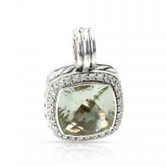David Yurman David Yurman Albion Prasiolite Diamond Pendant in Sterling Silver 0 32 ctw - 1286656