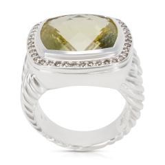 David Yurman David Yurman Albion Ring with Prasiolite and Diamonds 14mm 0 45 ctw - 1284293