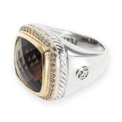 David Yurman David Yurman Albion Smokey Topaz Diamond Ring in 18K Gold Silver 0 44CTW - 1284257