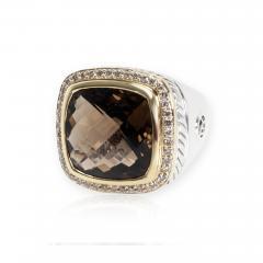 David Yurman David Yurman Albion Smokey Topaz Diamond Ring in 18K Gold Silver 0 44CTW - 1309342