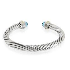 David Yurman David Yurman Cable Bangle with Blue Topaz in 14K Gold Sterling Silver Blue - 2058693