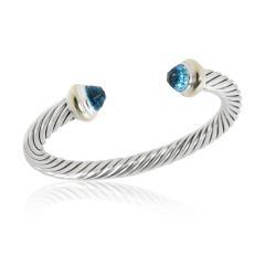 David Yurman David Yurman Cable Bangle with Blue Topaz in 14K Gold Sterling Silver Blue - 2058694