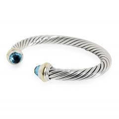 David Yurman David Yurman Cable Bangle with Blue Topaz in 14K Gold Sterling Silver Blue - 2058695