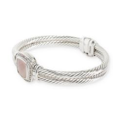David Yurman David Yurman Chalcedony Diamond Cable Bangle in Sterling Silver 0 4 CTW - 1284121