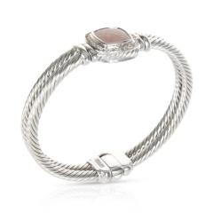 David Yurman David Yurman Chalcedony Diamond Cable Bangle in Sterling Silver 0 4 CTW - 1284122