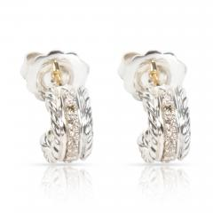 David Yurman David Yurman Diamond Cable Hoop Earrings in Sterling Silver 0 20 CTW  - 1286506