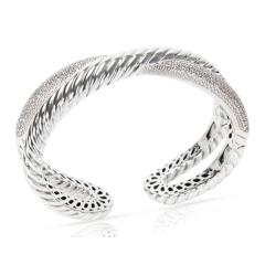 David Yurman David Yurman Diamond Crossover X Cuff in Sterling Silver 1 50 CTW  - 1286463