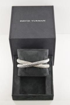 David Yurman David Yurman Diamond Crossover X Cuff in Sterling Silver 1 50 CTW  - 1286465