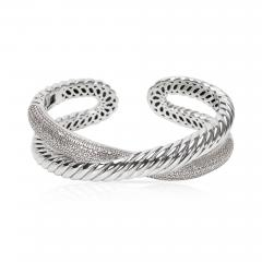 David Yurman David Yurman Diamond Crossover X Cuff in Sterling Silver 1 50 CTW  - 1286885