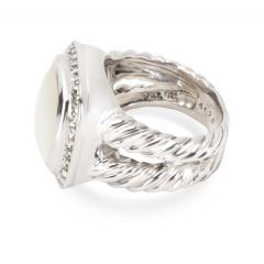 David Yurman David Yurman Diamond Mother of Pearl Albion Ring in Sterling Silver 0 25 ctw - 1283828