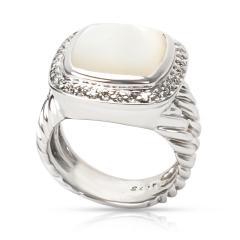 David Yurman David Yurman Diamond Mother of Pearl Albion Ring in Sterling Silver 0 25 ctw - 1283834