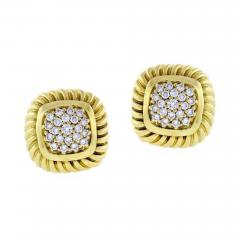 David Yurman David Yurman Fluted Pav Diamond Alboin Earrings - 1012573