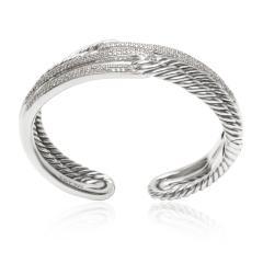 David Yurman David Yurman Labyrinth Diamond Cuff in Sterling Silver 1 77 CTW - 1286613