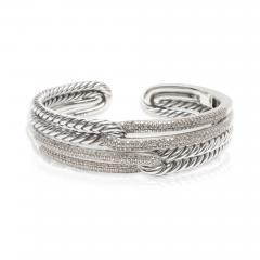 David Yurman David Yurman Labyrinth Diamond Cuff in Sterling Silver 1 77 CTW - 1286917