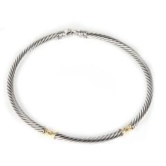 David Yurman David Yurman Metro Cable Choker Necklace in 14K Yellow Gold Sterling Silver - 1282836
