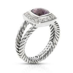 David Yurman David Yurman Petite Albion Amethyst Diamond Ring in Sterling Silver 0 17 ctw - 1841867