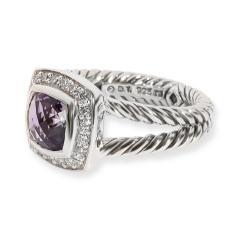 David Yurman David Yurman Petite Albion Amethyst Diamond Ring in Sterling Silver 0 17 ctw - 1841870