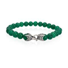 David Yurman David Yurman Spiritual Beads Green Onyx Mens Bracelet in Sterling Silver - 1283099