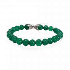 David Yurman David Yurman Spiritual Beads Green Onyx Mens Bracelet in Sterling Silver - 1286330