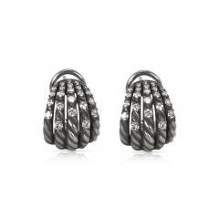 David Yurman David Yurman Tempo Diamond Earrings in Darkened Sterling Silver 0 61CTW - 1309334
