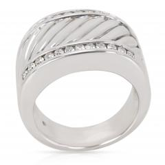 David Yurman David Yurman Wide Cable Diamond Mens Band in Sterling Silver 0 25 CTW  - 1283868