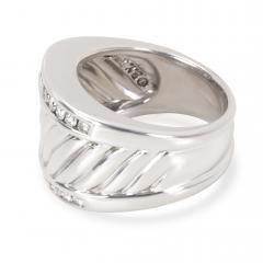 David Yurman David Yurman Wide Cable Diamond Mens Band in Sterling Silver 0 25 CTW  - 1283869