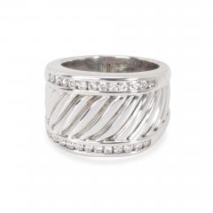 David Yurman David Yurman Wide Cable Diamond Mens Band in Sterling Silver 0 25 CTW  - 1286571