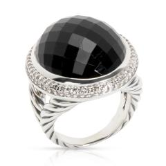 David Yurman Diamond Halo Oval Onyx Ring in Sterling Silver 0 55 CTW - 1299134