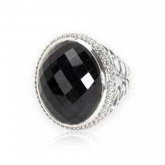 David Yurman Diamond Halo Oval Onyx Ring in Sterling Silver 0 55 CTW - 1300761