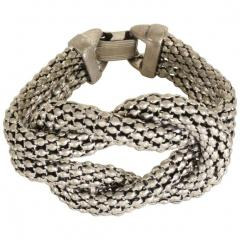 David Yurman Sculptural Twisted French Cable Bracelet in Aluminum Double Band Art Deco Era - 1910567