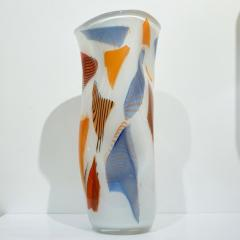 Davide Dona Davide Don Italian Large Free Form White Orange Red Blue Murano Art Glass Vase - 1127427