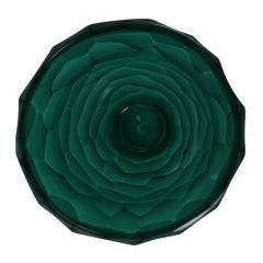 Davide Dona Davide Dona Signed Sculptural Faceted Green Murano Glass Vase Italy 70s - 849259