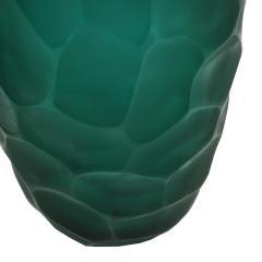 Davide Dona Davide Dona Signed Sculptural Faceted Green Murano Glass Vase Italy 70s - 849260