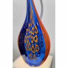 Davide Dona Dona Modern Art Glass Blue and Orange Sculpture Vase with Red and Yellow Murrine - 1064596