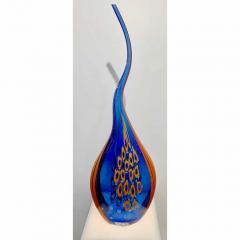 Davide Dona Dona Modern Art Glass Blue and Orange Sculpture Vase with Red and Yellow Murrine - 1064598