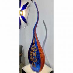 Davide Dona Dona Modern Art Glass Blue and Orange Sculpture Vase with Red and Yellow Murrine - 1064599