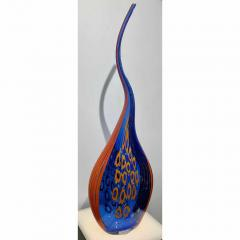 Davide Dona Dona Modern Art Glass Blue and Orange Sculpture Vase with Red and Yellow Murrine - 1064603